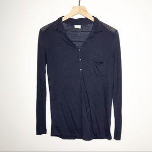 Hartford Long Sleeve Tencel Wool Button Top 1/S